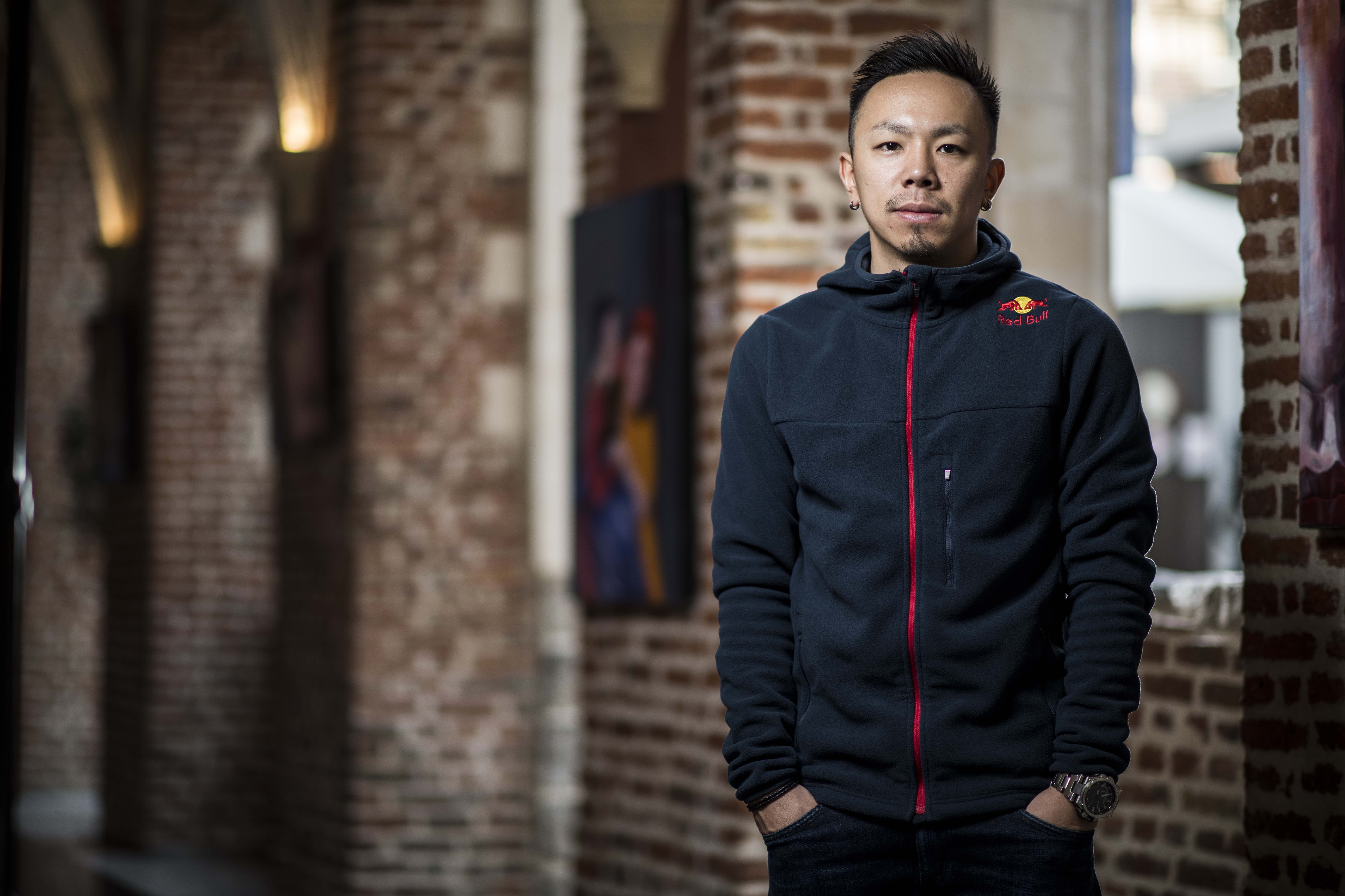 Taisuke posing for a Portrait in the Hotel Couvent des Minimes in Lille, France during the Europe Red Bull Allstar Tour, February 22nd 2018.
